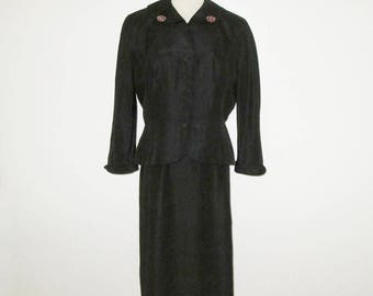 Vintage 1950s Suit / 50s Black Silk Dress Ensemble / 50s Black Dress With Matching Jacket And Needlepoint Button Accents - Size M