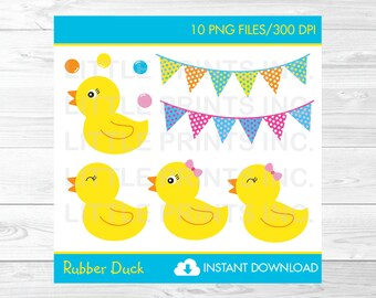 Cute Rubber Duck Clipart / Rubber Duck Baby Shower / Rubber Duck Birthday / Baby Shower Clipart / PERSONAL USE Instant Download A391