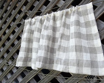 Natural Linen Curtain Farmhouse Kitchen Window Treatment Natural Plaid Linen Valance Panel Rustic Curtain French Country Made to Order