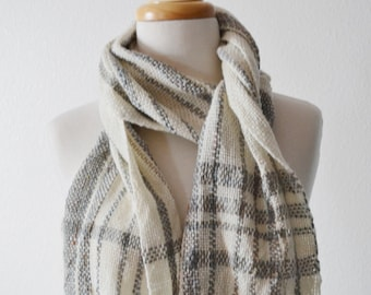 Driftwood Scarf - Handwoven Handspun Wool and Silk and Linen Scarf. Medium-Loose Weave, Handmade Scarf, Drapey, Oceany, Boho, Natural.