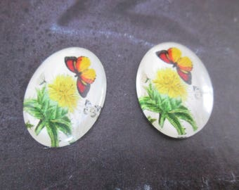 2 cabochons glass 25 x 18 mm print Butterfly # 4