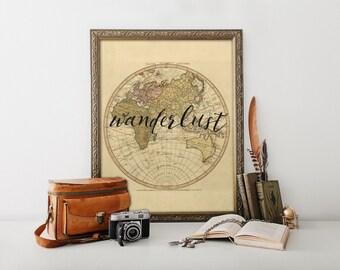 Wanderlust, Wanderlust print, Wanderlust art, Travel art, Travel poster, Adventure print, Adventure, Wanderlust poster, Outdoor decor, BD226