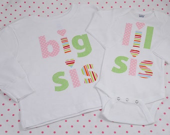 Hand Appliqued BIG SiS t-shirt and LIL SiS onesie Girl Big Sister Little Sister Matching Set