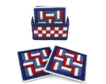 PATTERN: Stars and Stripes Coaster Set in Plastic Canvas
