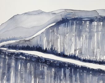 ORIGINAL Watercolor Painting,Scandinavian Design,Scandinavian Art,Minimalist Art,Landscape Painting,Monochromatic,Mountain Painting,Paint