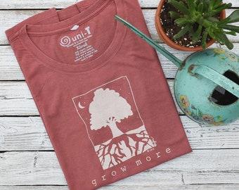 Gardening Gift | Organic Clothing | Gardening Tshirt | Tree Tshirt | Environmental T-shirt | Women's Bamboo Clothing | GROW MORE - Uni-T
