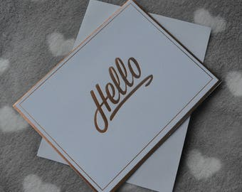 Card double + envelope Hello metallic effect