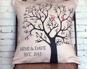 Cotton Anniversary Gift Personalized Wedding Gift Pillow Cover LOVE BIRDS Wedding Gift Cotton Anniversary Gift