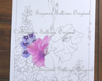 Flowers Coloring Page, Delphinium and Gladiolus, Adult Coloring Page, DIY Coloring Page, Art Coloring Page, Printable Download, #250