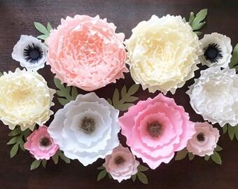 Assorted crepe paper flower set-Boho Nursery-Giant Paper Flowers-Nursery Wall Flowers-Flower Photo Booth Backdrop-Babyshower Decor