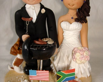 Bride and groom customised barbecue chef themed wedding cake topper