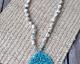 Long Statement Necklace- Long Beaded Necklace- Turquoise Necklace- Long Necklace with Pendant- Long Boho Necklace- Boho Jewelry- Hippie