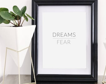 """Inspirational Quote """"Dreams Over Fear"""" New Years Resolution Printable Wall Art Decor"""