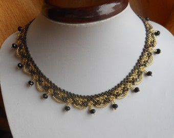Beaded Jewelry Beaded necklace  Brown necklace Bib necklace Small necklace Collar necklace Beaded bib necklace Necklace for women gift