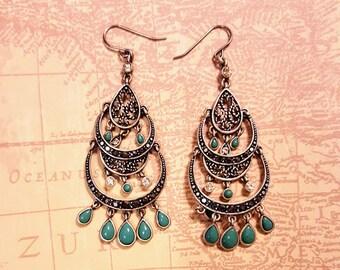"Vintage Pewter Silver tone Earrings,Southwestern,2 7/8"" by 1"",long dangle,Southwestern,faux turquoise,marcasite,glass rhinestones,chandelier"