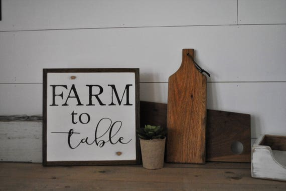 FARM TO TABLE 1'X1' sign   distressed shabby chic painted wooden sign   painted wall art   elegant farmhouse decor   framed wood sign