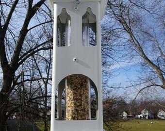 Tubefeeder, birdfeeder,white PVC, longlasting bird feeder, durable, handmade in USA, ez2 fill, ez2 clean, Bridgeport Canterbury feeder