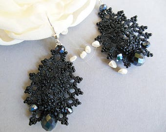 Stylish black  earrings,  delicate tatting earrings, lace tatted jewelry, gothec earrings,black lace earrngs, goth jewelry. gift for her
