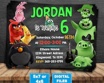 Angry birds invitation, angry birds birthday invitation, angry birds party invite, angry birds digital, angry birds printable, angry birds