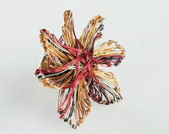 Flower brooch, red orange, cute pin, colorful, modern boho, wire flower sculpture art jewelry, Spring, mothers day gift, birthday gift women