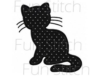 cat outline applique machine embroidery design pattern