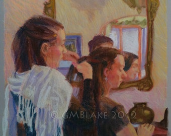 The Mirror: Sisters - original pastel art