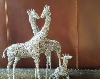 Giraffe family.  Wire sculpture. Home decor.  Art. Parent and baby.  Love. Mothers Day Gift.  Gift for Her.