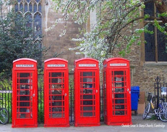 Cambridge Telephone Boxes Fine Art Photographic Blank Greetings Card