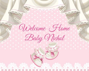Large Welcome Home Baby Banner Shower Girl Boy