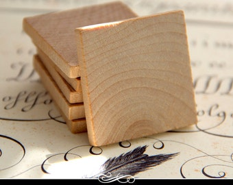 1.5 Inch Square Wood Tiles for Pendants and Magnets and More. 3/16 Inch Thick. 50 pack