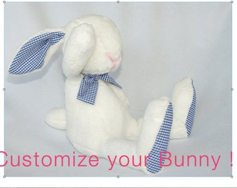 Custom made bunny - customize your bunny - plush bunny, Easter bunny, rabbit, baby shower gift