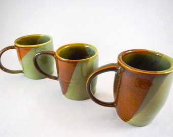 Set of Three Handmade Ceramic Retro Coffee Cups