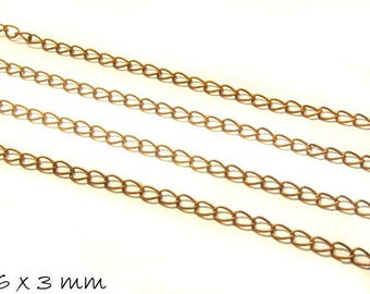 Chain copper, large, 6 x 3 mm