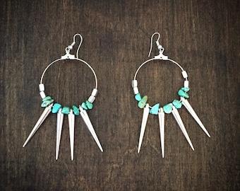 Lightweigth silver spike earrings
