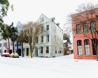 Rainbow Row 1, Charleston Snow Day