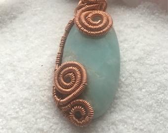 Beautiful larimer stone wire wrapped pendant
