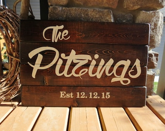 Custom Family Last Name Wood Plank Sign - Established Date, Rustic, Distressed, Country, Farmhouse, Cabin