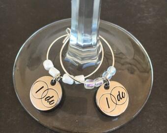 I Do Wine Charms - Set of 2