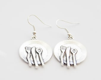 Foodie Gifts, Plate Earrings, Plate Jewelry, Fork Knife Spoon Earrings, Dinner Plate Earrings, Brunch Earrings, Food Gifts, Gifts Under 20