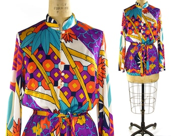 Saks Fifth Avenue Pucci Inspired Polyester Printed Blouse / Vintage 1970s Psychedelic Shirt with Tie Belt