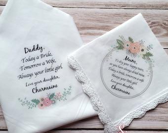 Parents of the Bride/Groom Wedding Handkerchief set.  Wedding Keepsake, includes free gift envelope