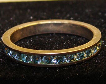 Vintage Art Deco Sterling Silver Blue Rhinestone Channel Stackable Ring Size 6.5