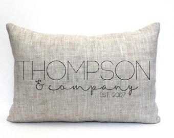 "wedding gift, family pillow, custom pillow, name pillow, anniversary gift, valentine gift ""The Thompson"""
