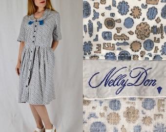L/XL 1950s Nelly Don Novelty Print Cotton Shirtwaist Dress