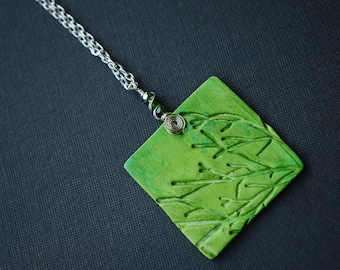 Green Branches Clay Necklace, Silver Plated Wire Wrapped Necklace, Polymer Clay Necklace, Tree Necklace, Green, Square