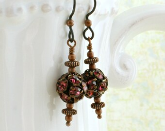 Copper and Fuchsia rhinestone earrings with hypoallergenic  Niobium ear wires - Steampunk Jewelry - Magenta Pink disco balls