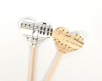 Music Heart Cupcake Toppers - Vintage Sheet Music Decor, Wedding Cupcake Topper