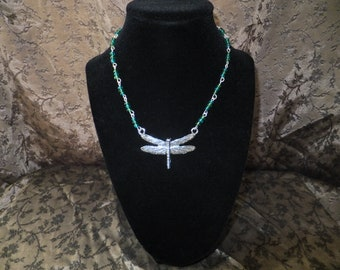 Green and Blue Dragonfly Necklace