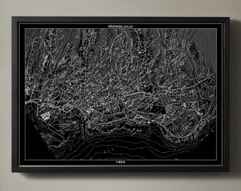 Honolulu Map Print, Black and White Los Angeles Wall Decor