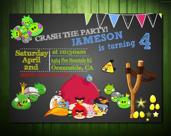 Angry Birds Invitation,Angry Birds  Printable,Angry Birds Invites,Digital File Angry pigs Invitation, Angry Bird Birthday,Angry Birds party